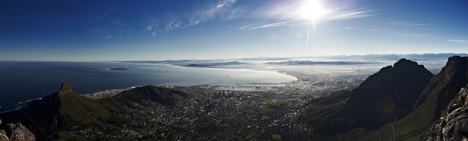 Very early morning panorama view of Cape Town from Table Mountain