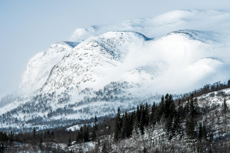 Kraftig vind med snefygning over fjeldet, samtidig med, at solen skinner, giver et særligt skær i billedet. Valdres, Norge. Grej: Nikon D300s + Nikkor 70-200 f/2.8 VRII. Indstillinger: 1/2000 sek., f/8, ISO-200, 185mm.