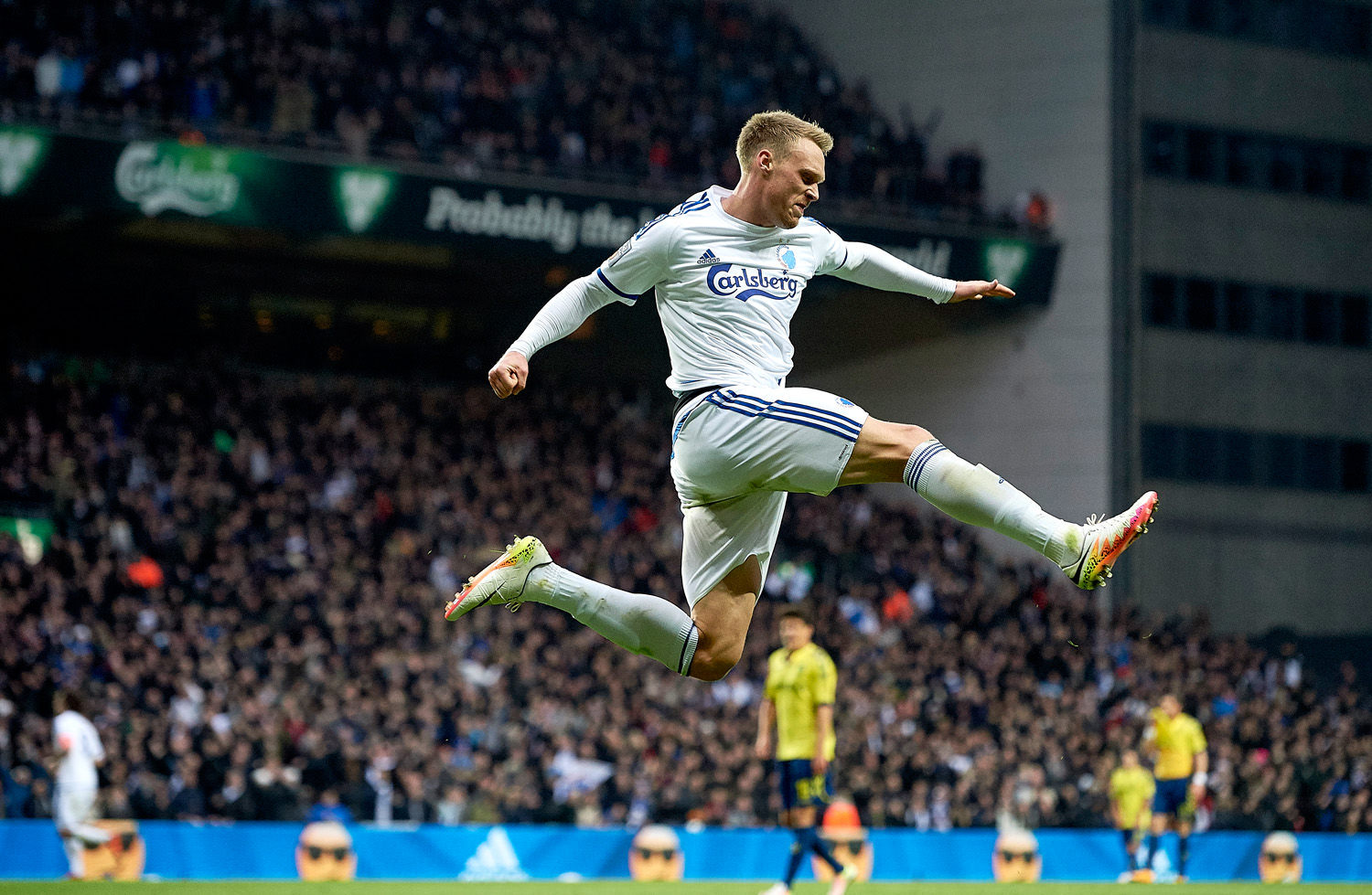 COPENHAGEN, DENMARK - APRIL 17: Nicolai Jorgensen of FC Copenhagen celebrates after scoring their second goal during the Danish Alka Superliga match between FC Copenhagen and Brondby IF at Telia Parken Stadium on April 17, 2016 in Copenhagen, Denmark. (Photo by Lars Ronbog / FrontZoneSport via Getty Images)