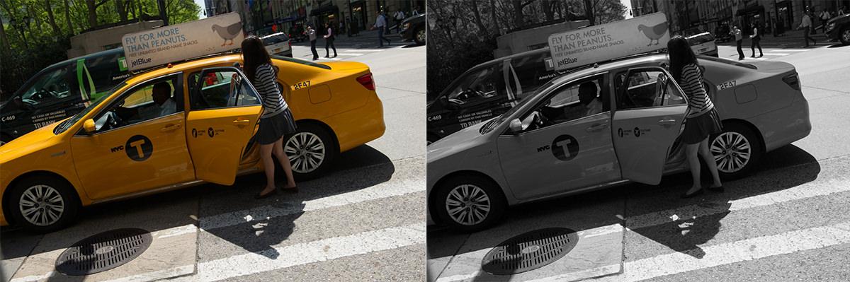 Uredigeret farve-JPG og samme JPG konverteret til sort/hvid i Photoshop. Ikke yderligere redigering. Indstillinger: Blændeprioriteret, 1/800 sek., f/6.3, ISO-200, 40mm. Nikon D3s + 24-70 f/2.8.